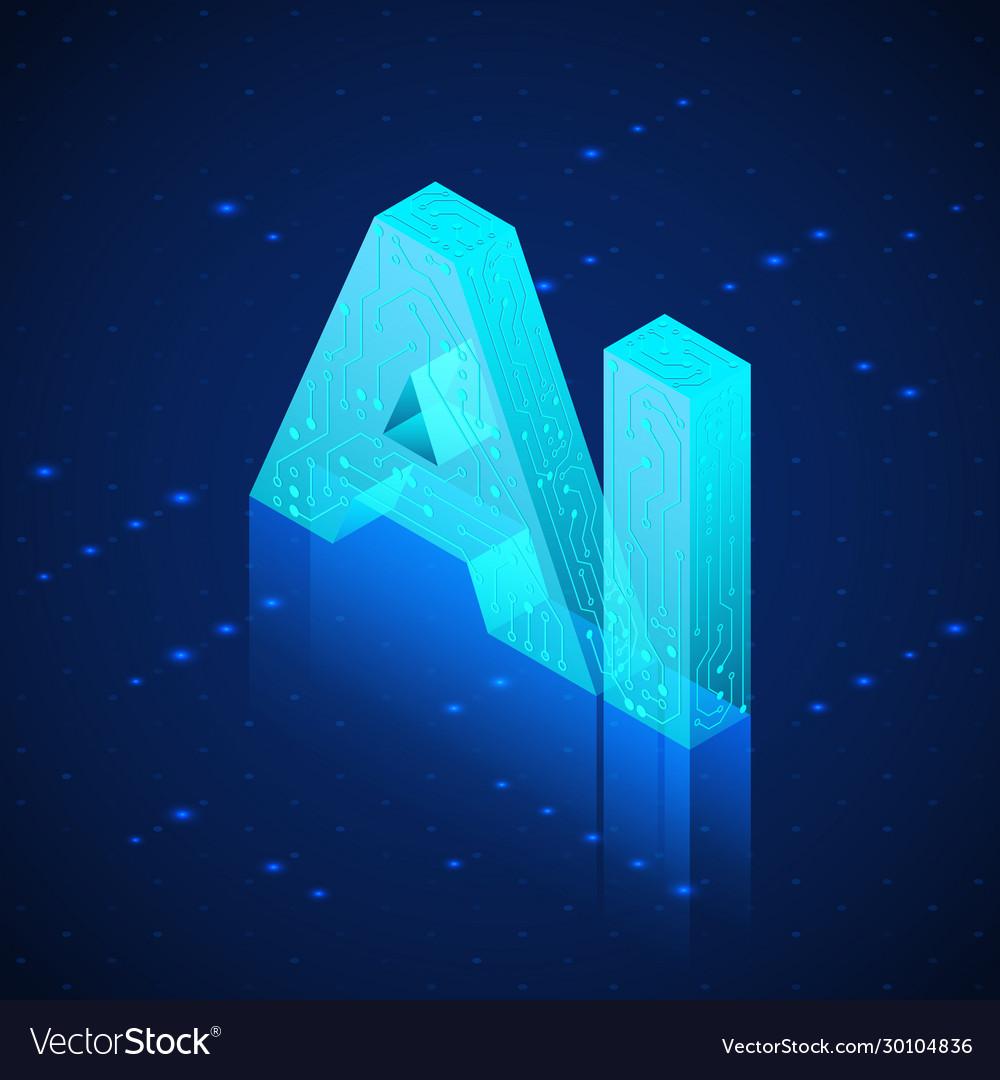 Ai hologram artificial intelligence isometric
