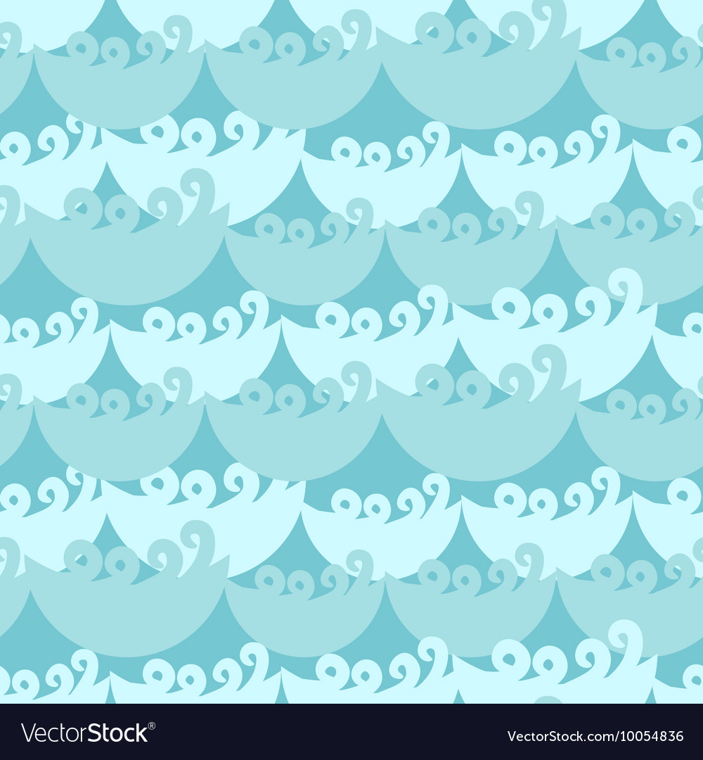 Blue water curly waves seamless pattern