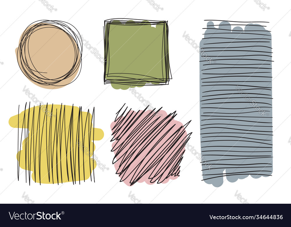 Color abstract shapes made hand drawn brush