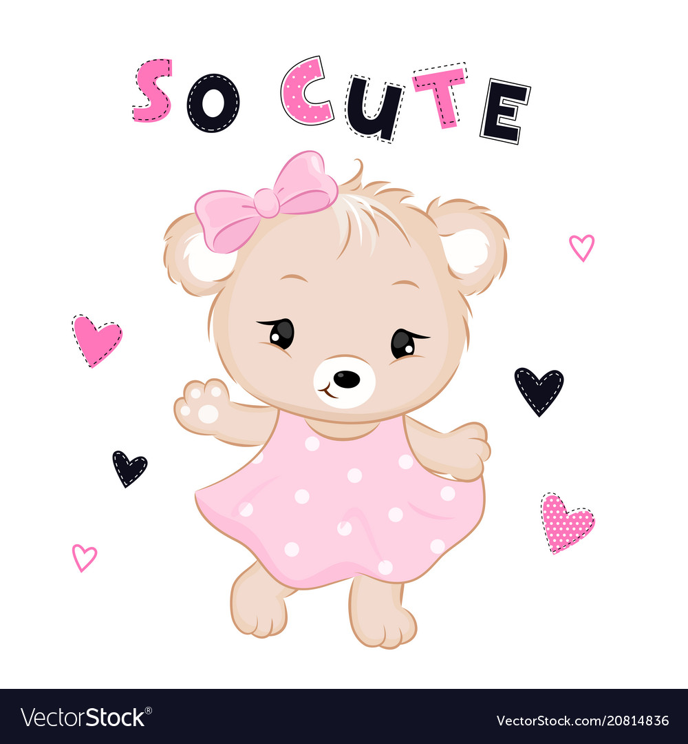Cute bear in dress with text and hearts
