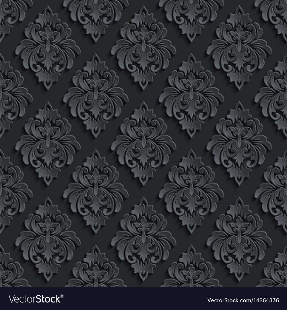 Dark Damask Seamless Pattern Background Elegant