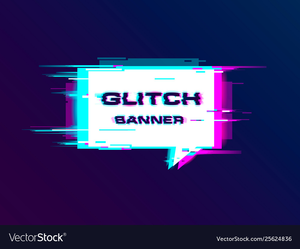 Distorted glitch style promotion banner