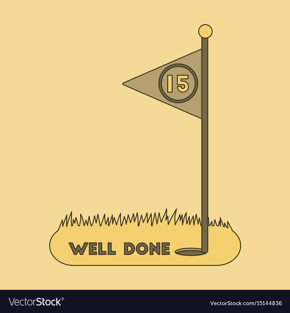 Icon in flat design golf course well done