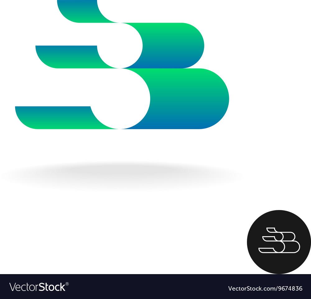 Letter B logo Elegant color 3D stripes style Wide