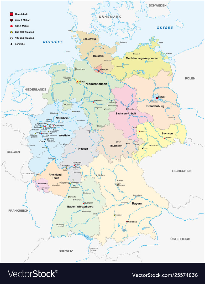 Map Germany In German Language Royalty Free Vector Image