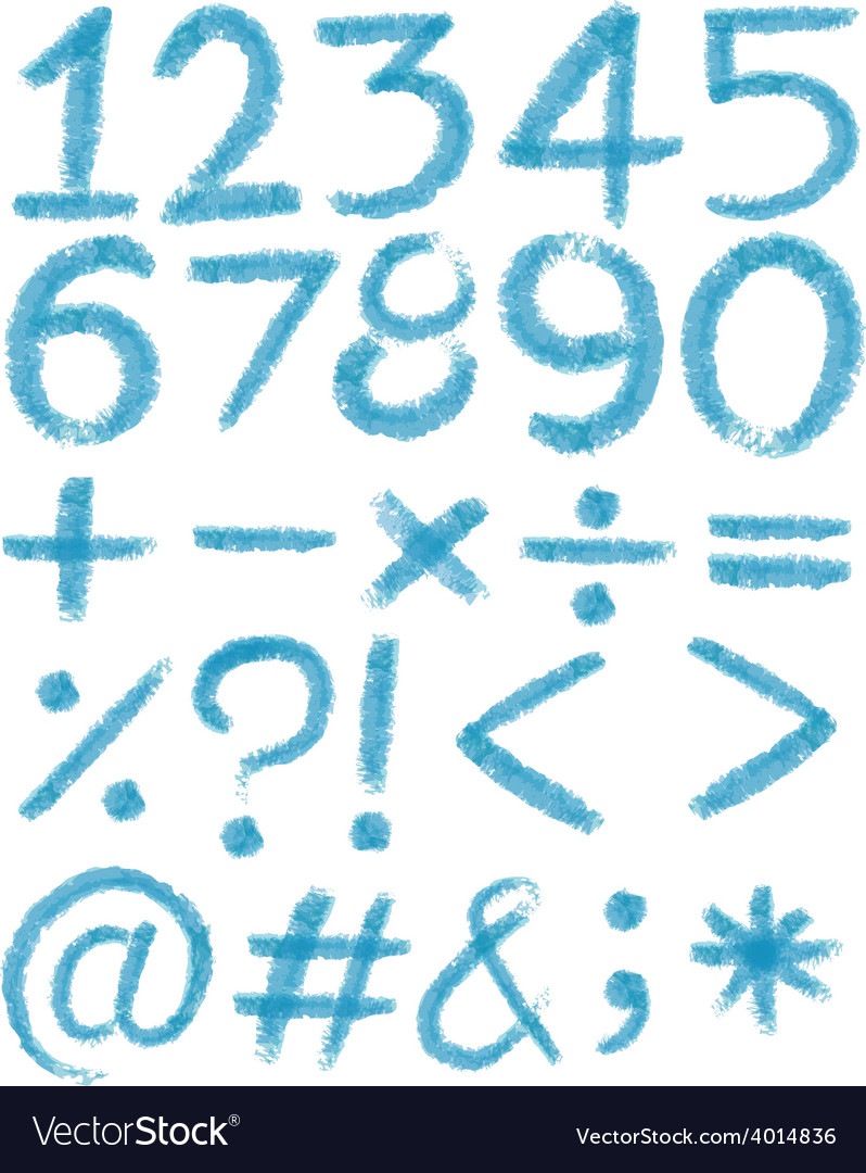 Numbers in blue colors Royalty Free Vector Image