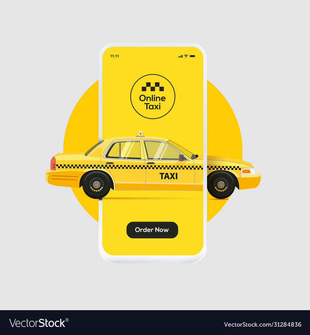 Online taxi ordering service banner design yellow