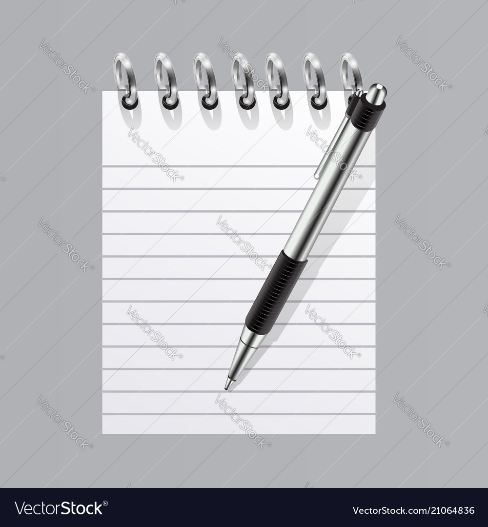 Realistic blank spiral notepad and pen symbol