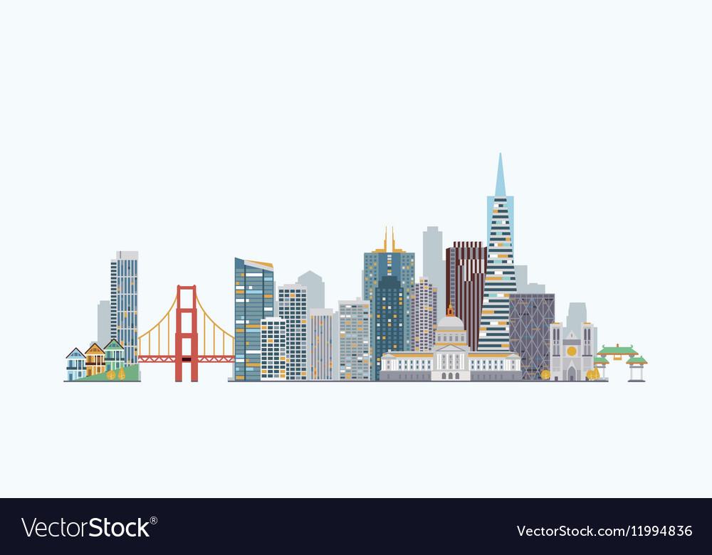 san francisco skyline royalty free vector image rh vectorstock com san francisco skyline vector art san francisco skyline silhouette vector free
