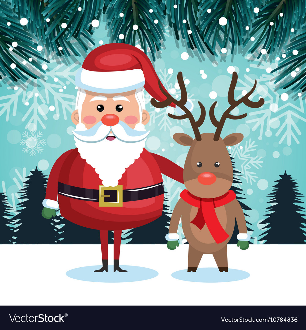 Santa with reindeer and landscape snow graphic