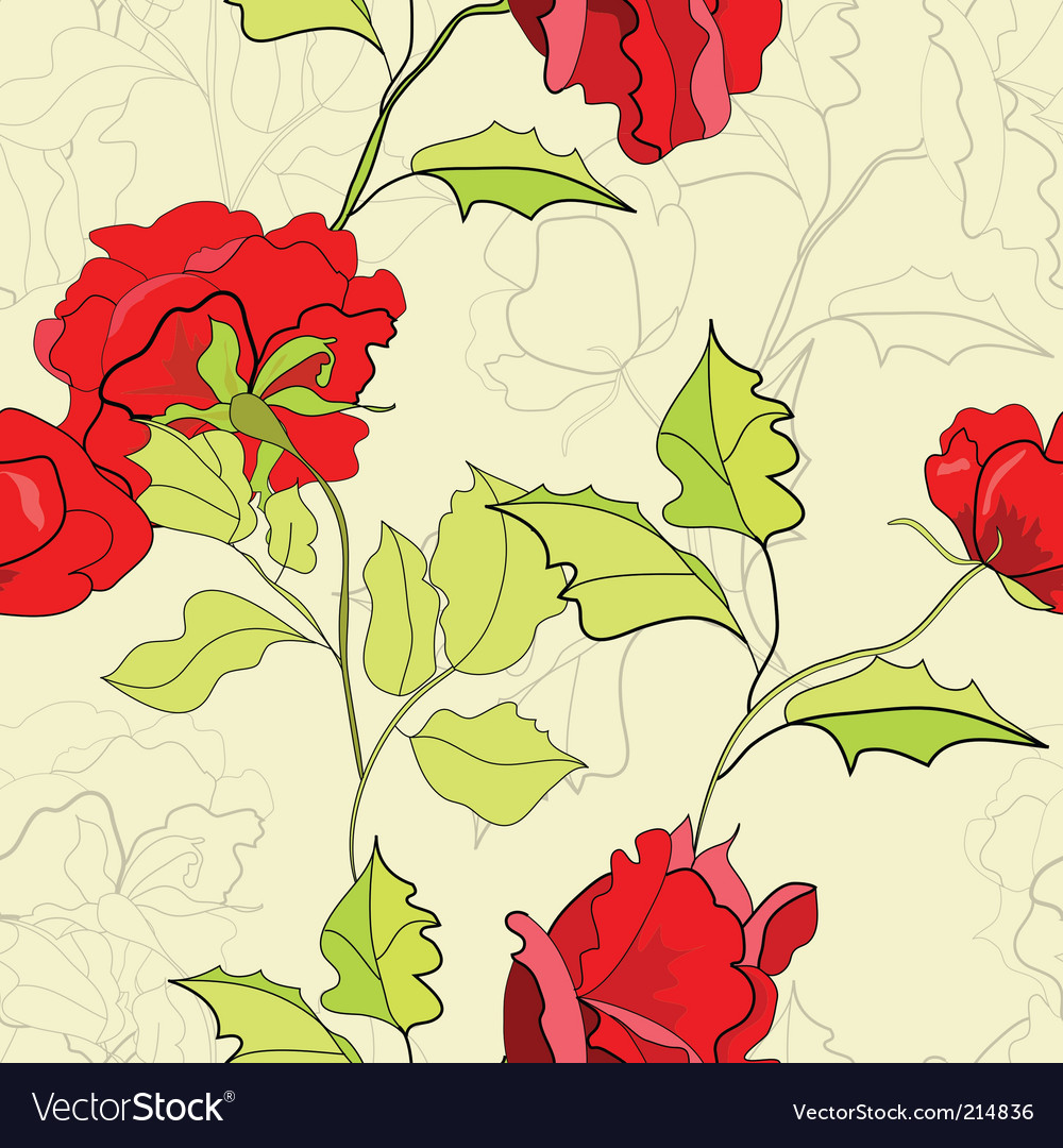 Seamless wallpaper with red roses