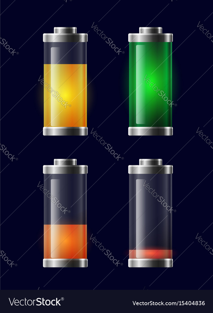 Set of transparent different charging battery vector image