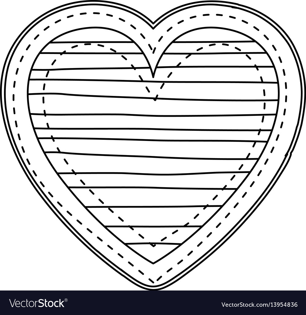 Silhouette heart shape with lines pattern vector image