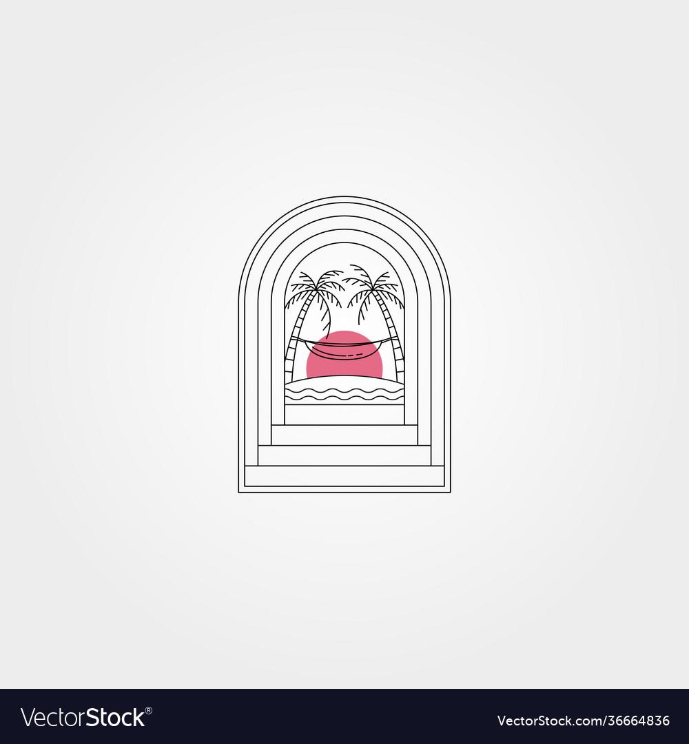 Tropical door creative logo symbol design hammock