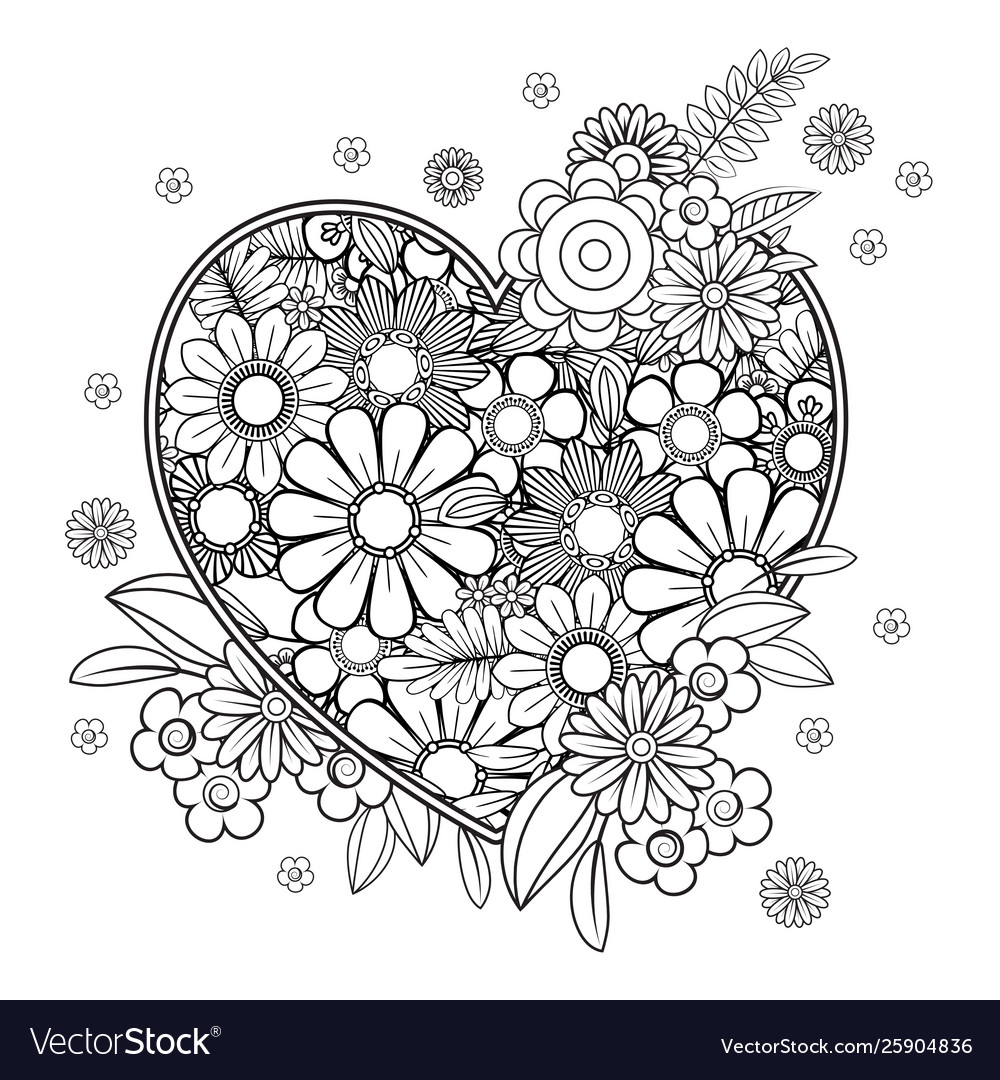 Valentines Day Coloring Page Royalty Free Vector Image