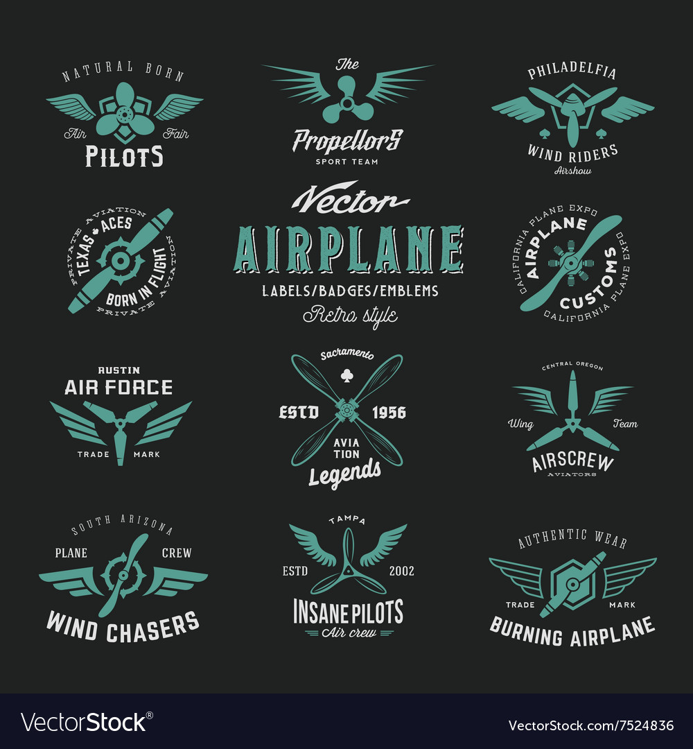 Vintage Airplane Labels Set with Retro