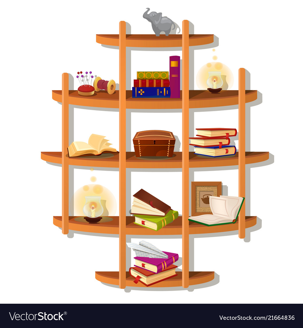 Wall-mounted wooden shelf with books isolated on