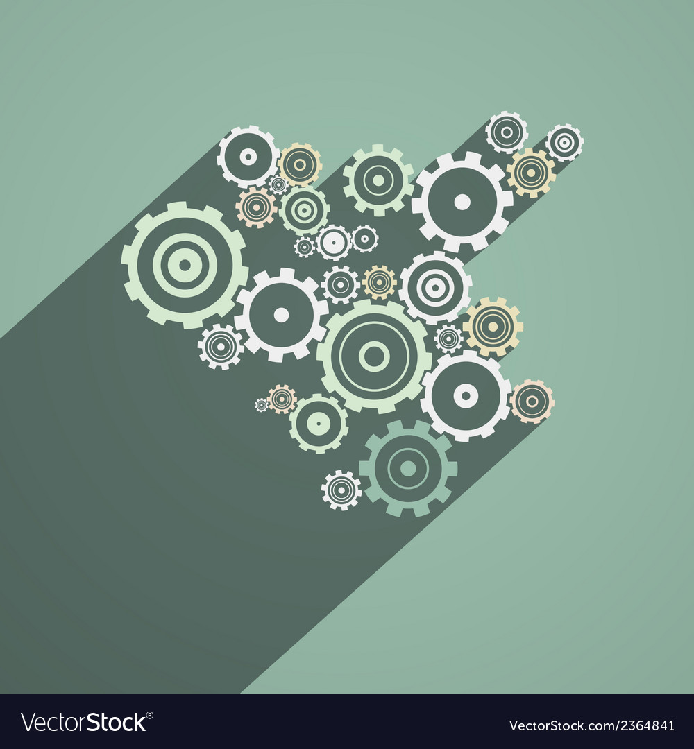 Abstract Paper Cogs Gears on Retro Background