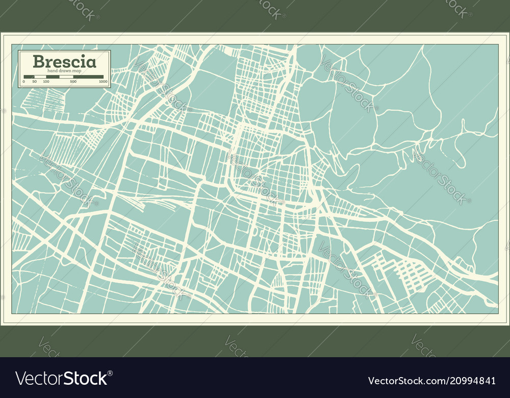 Brescia italy city map in retro style outline map Vector Image