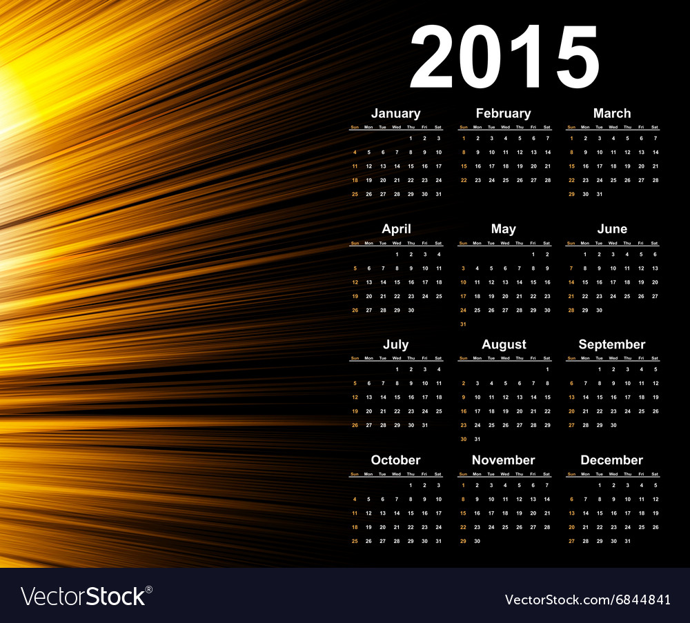 Calendar 2015 year template with abstract