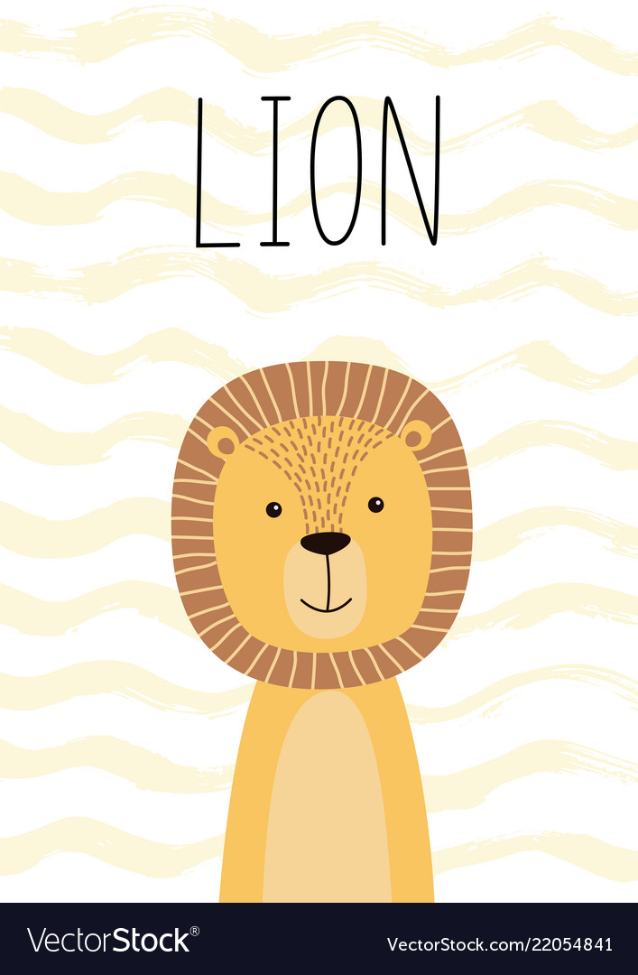 Cute lion poster card for kids