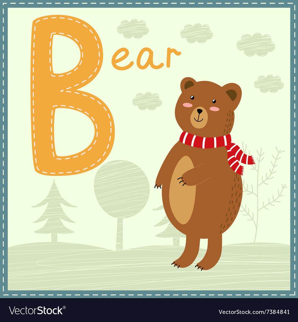 Cute Zoo Alphabet - Letter B with cartoon bear