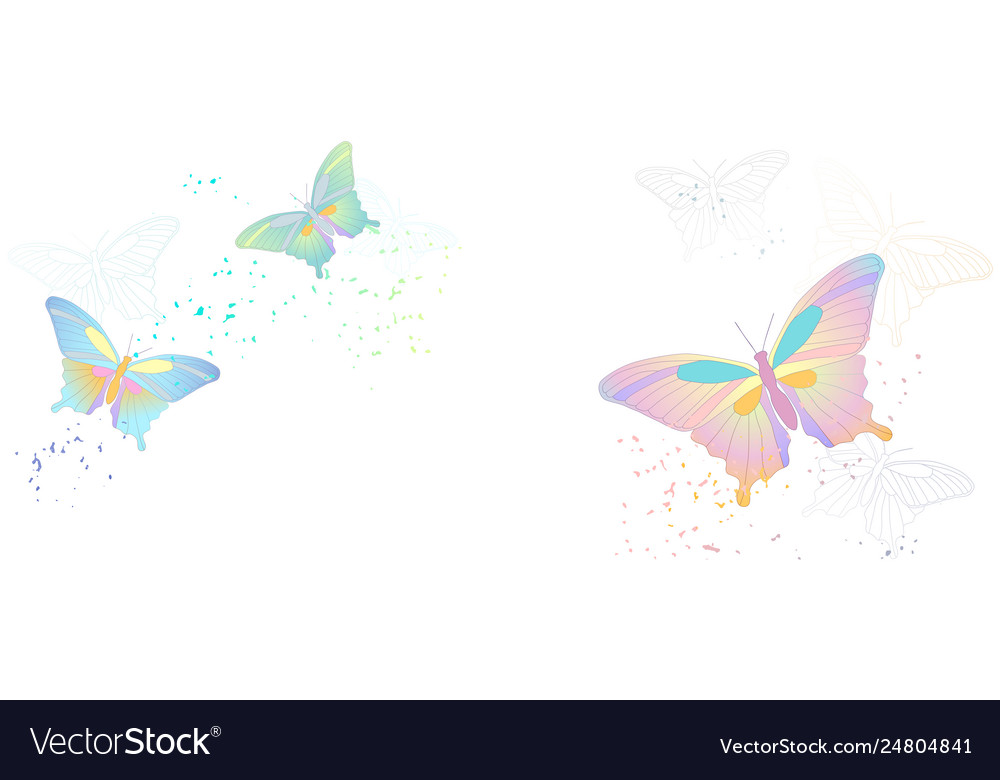 Flying butterflies isolated on white