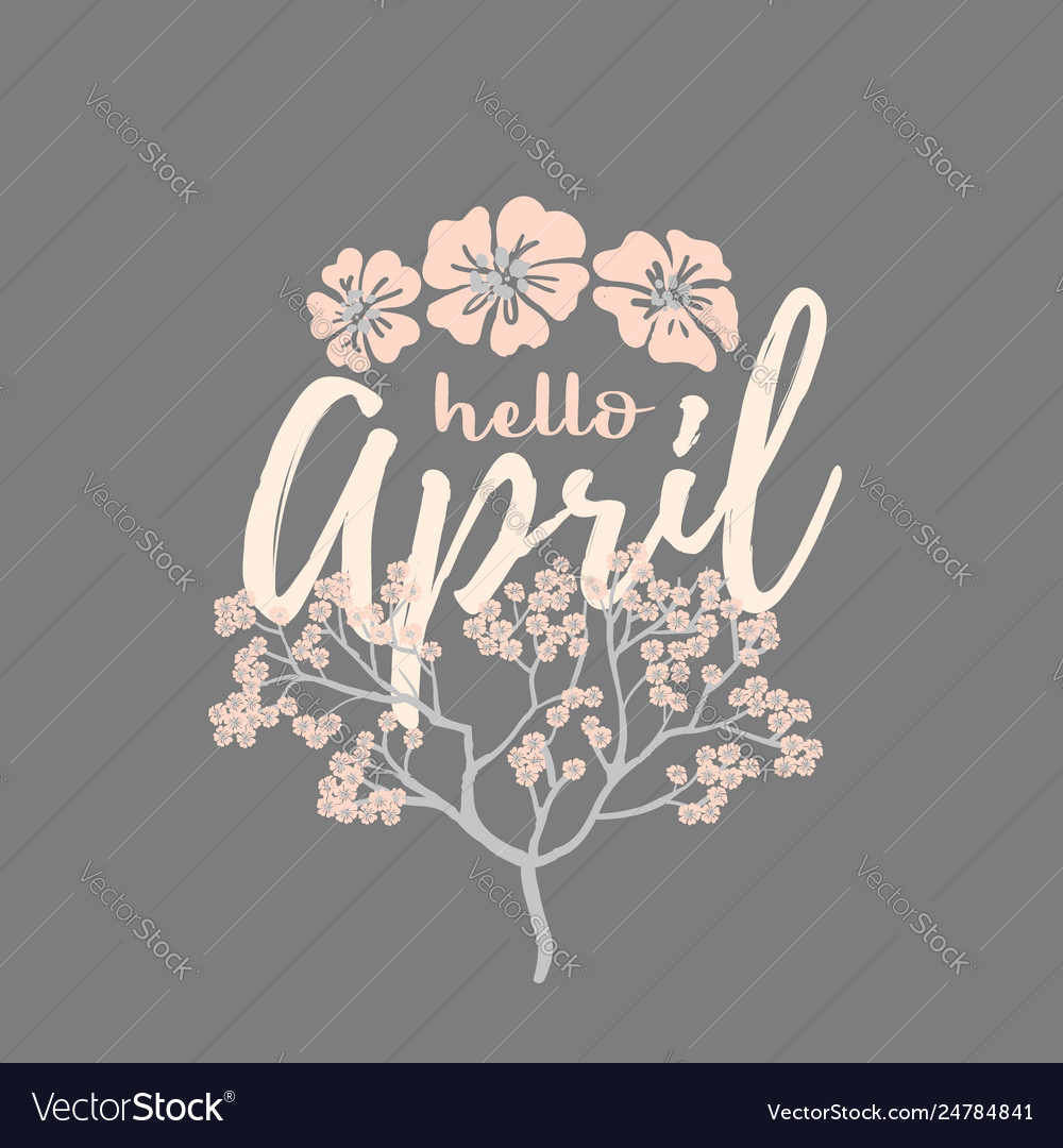 Hello april card with cherry blossom spring flower