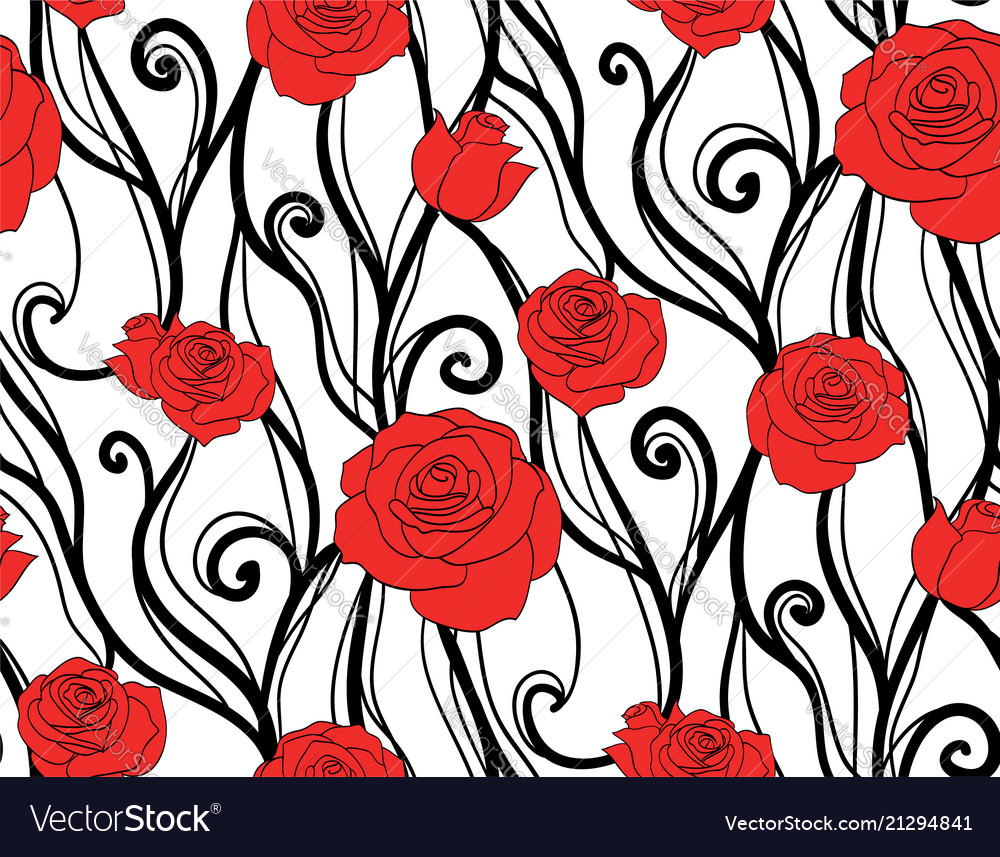 Seamless texture with roses and vines on a white