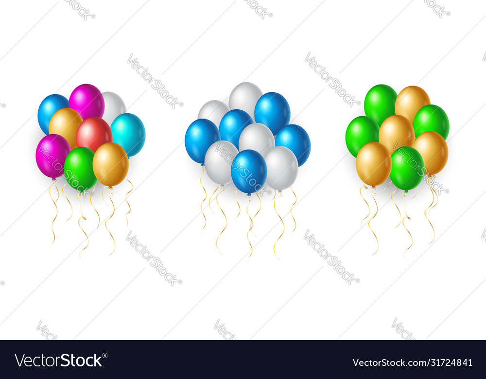 Set flight up rainbow color helium balloons on vector