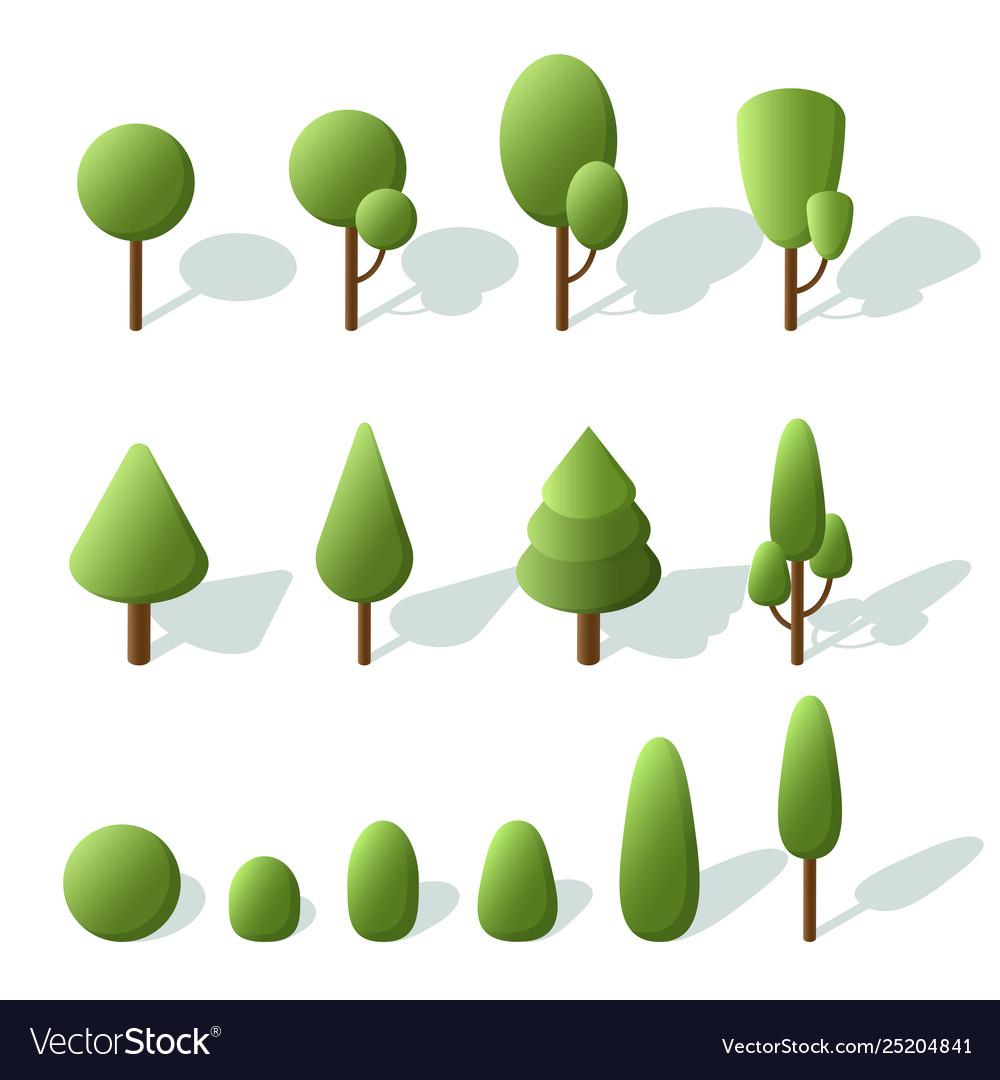 Set trees isometric 3d trees for landscape design