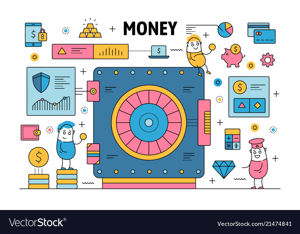 Thin line money poster banner template