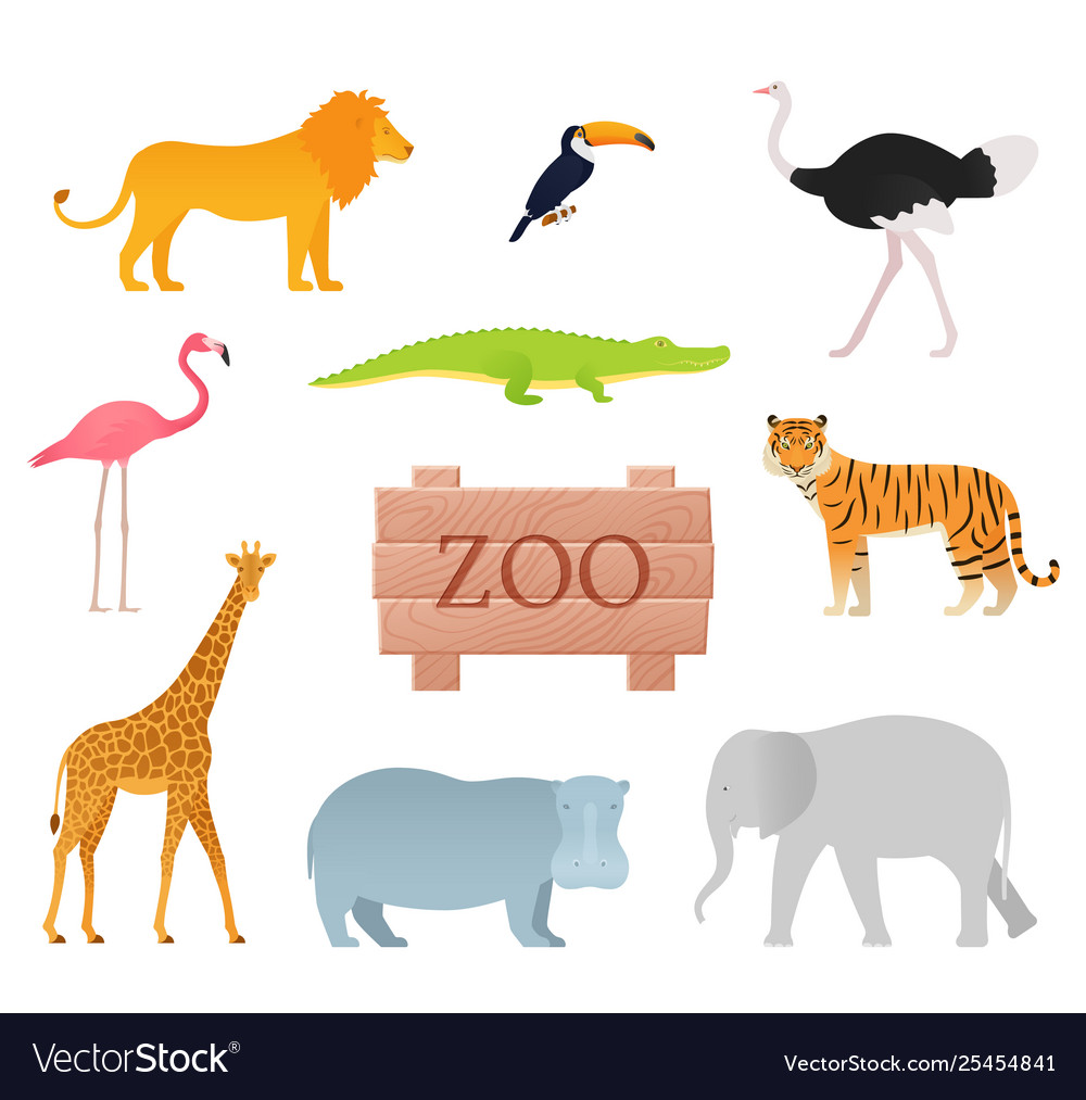 Zoo animals animal icon set with wooden board