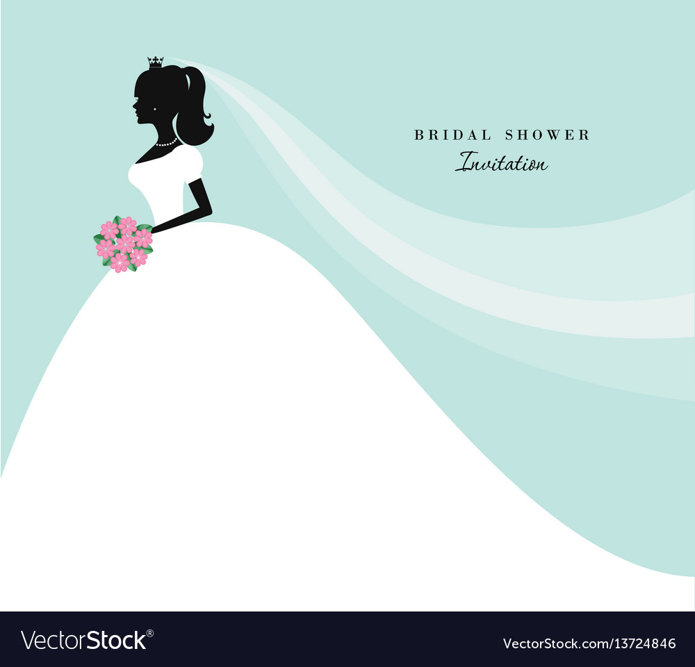 Beautiful bride silhouette on pastel blue