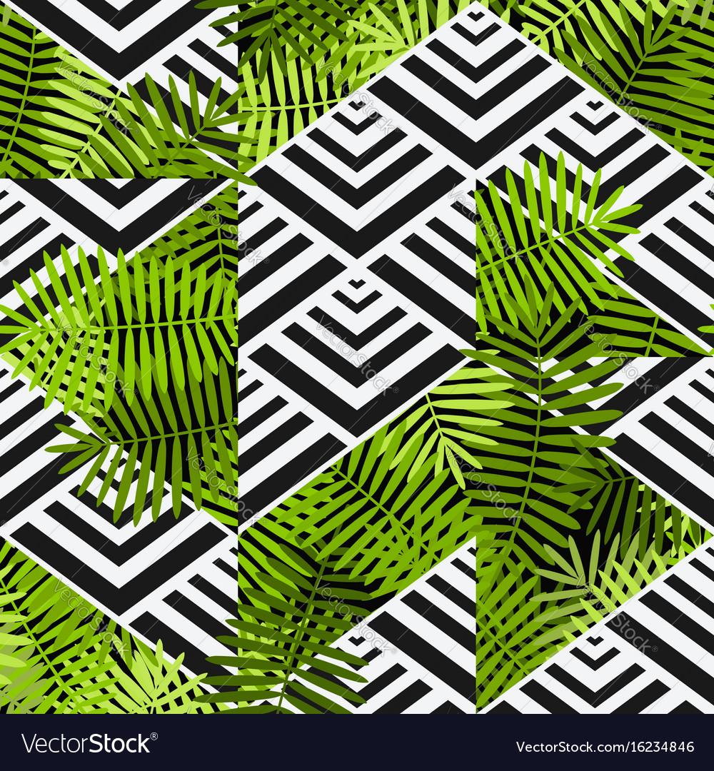 Exotic leaves on geometric background patchwork vector image