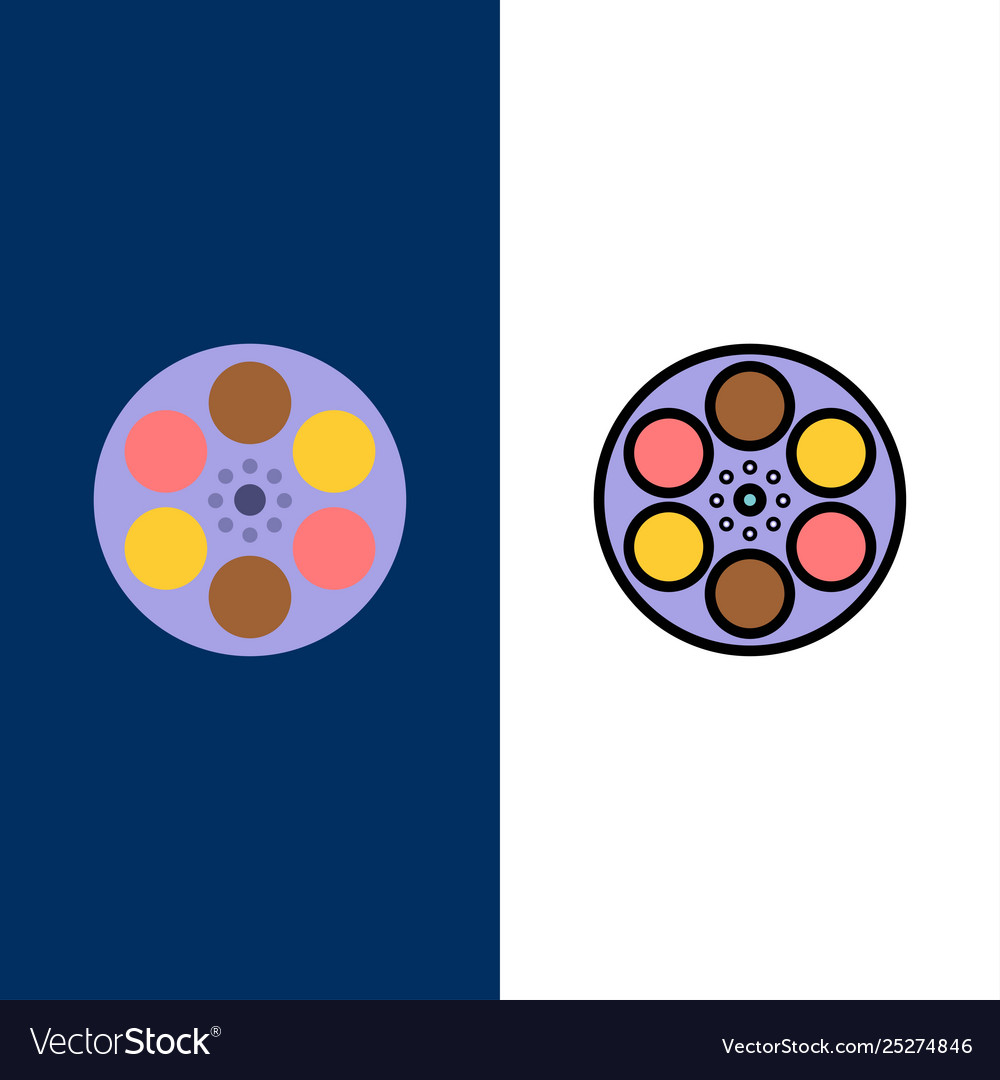 Film movie reel tank tape icons flat and line
