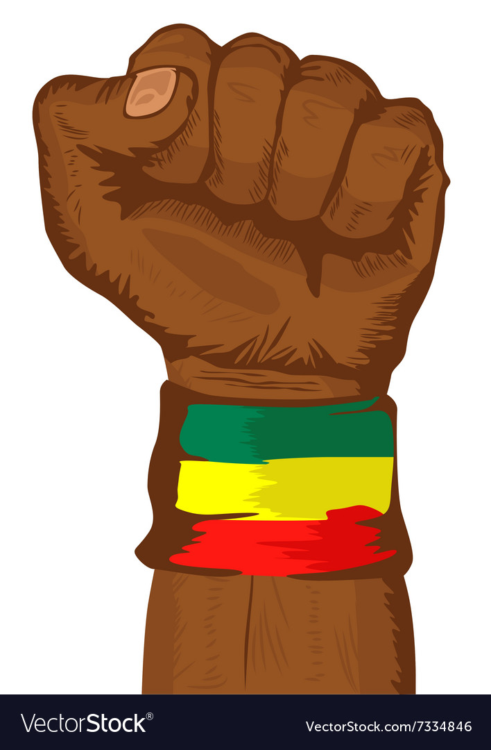 Fist wearing a flag of Ethiopia wristband vector image
