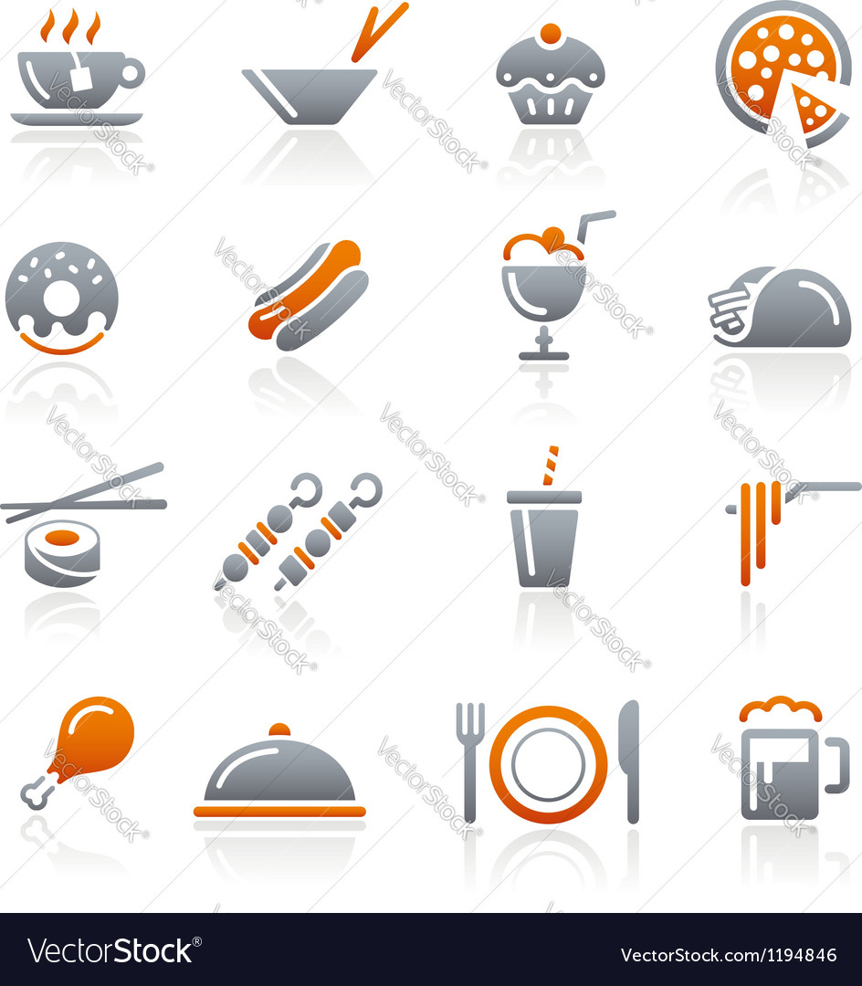 Food Icons Set 2 Graphite Series vector image