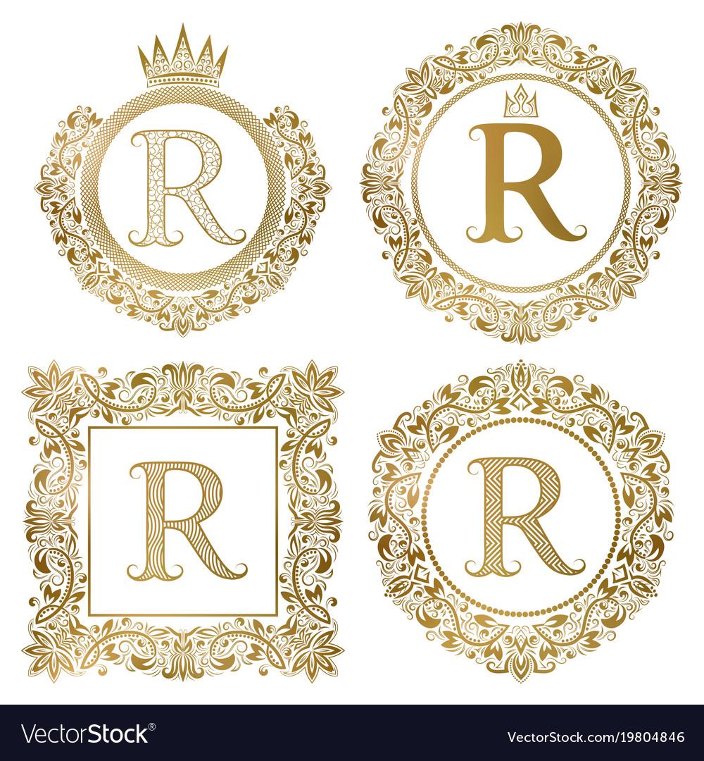 Golden letter r vintage monograms set heraldic vector image