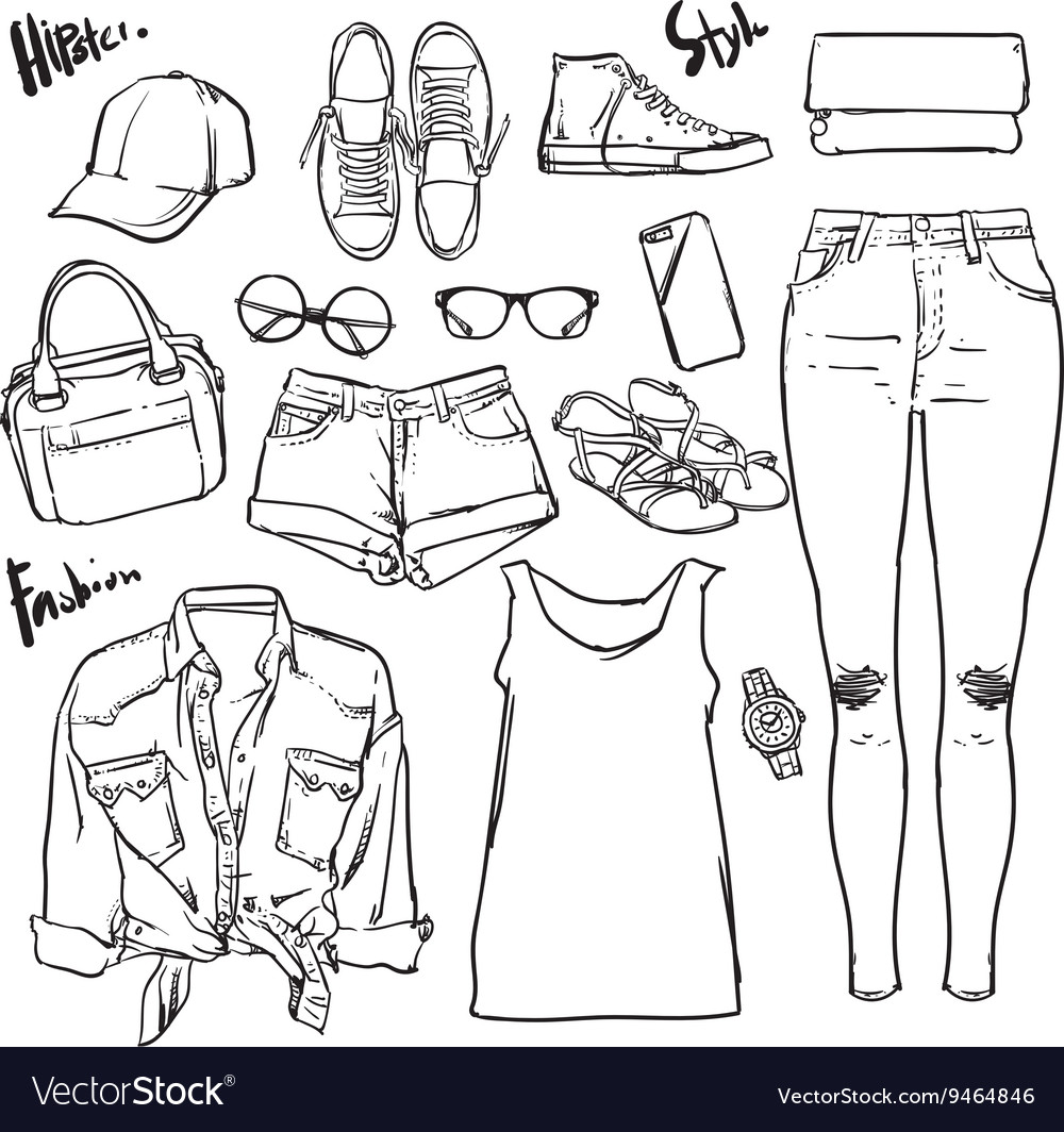 Hand drawn Lady fashion accessories outline vector image