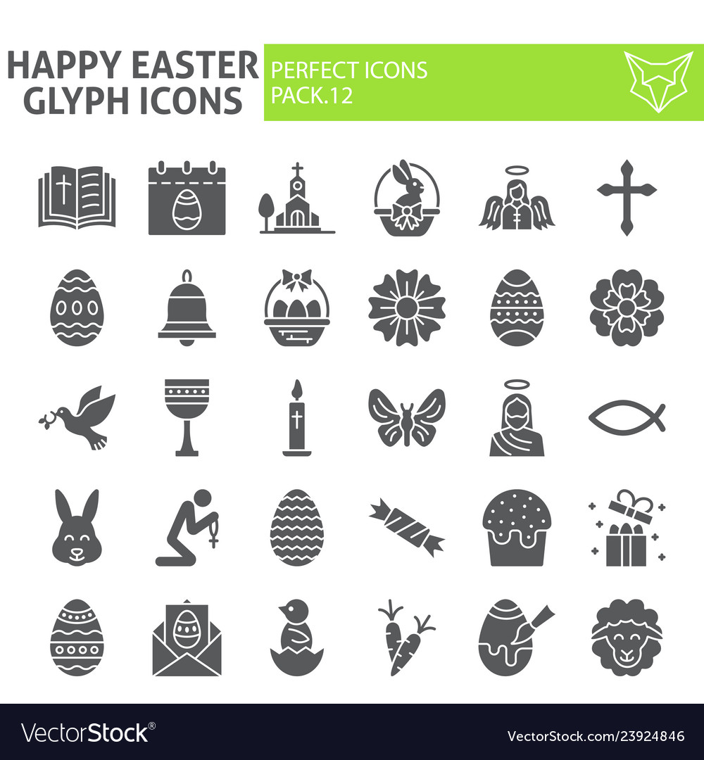 Happy easter glyph icon set spring holiday