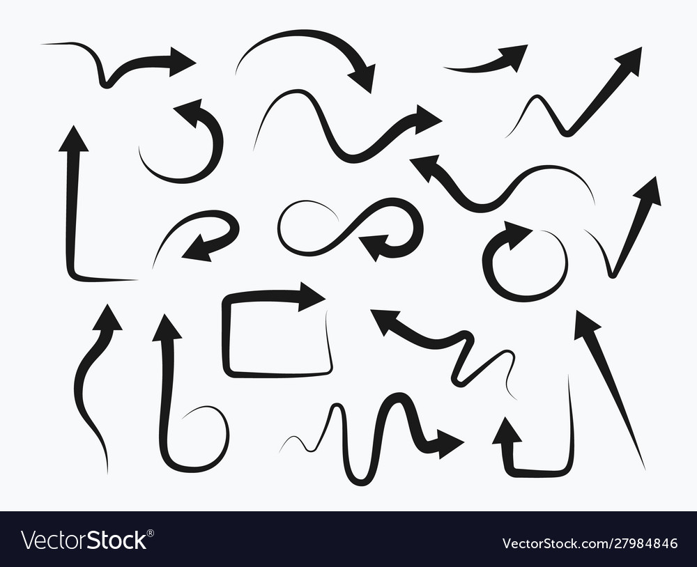 Set hand drawn arrows on white background
