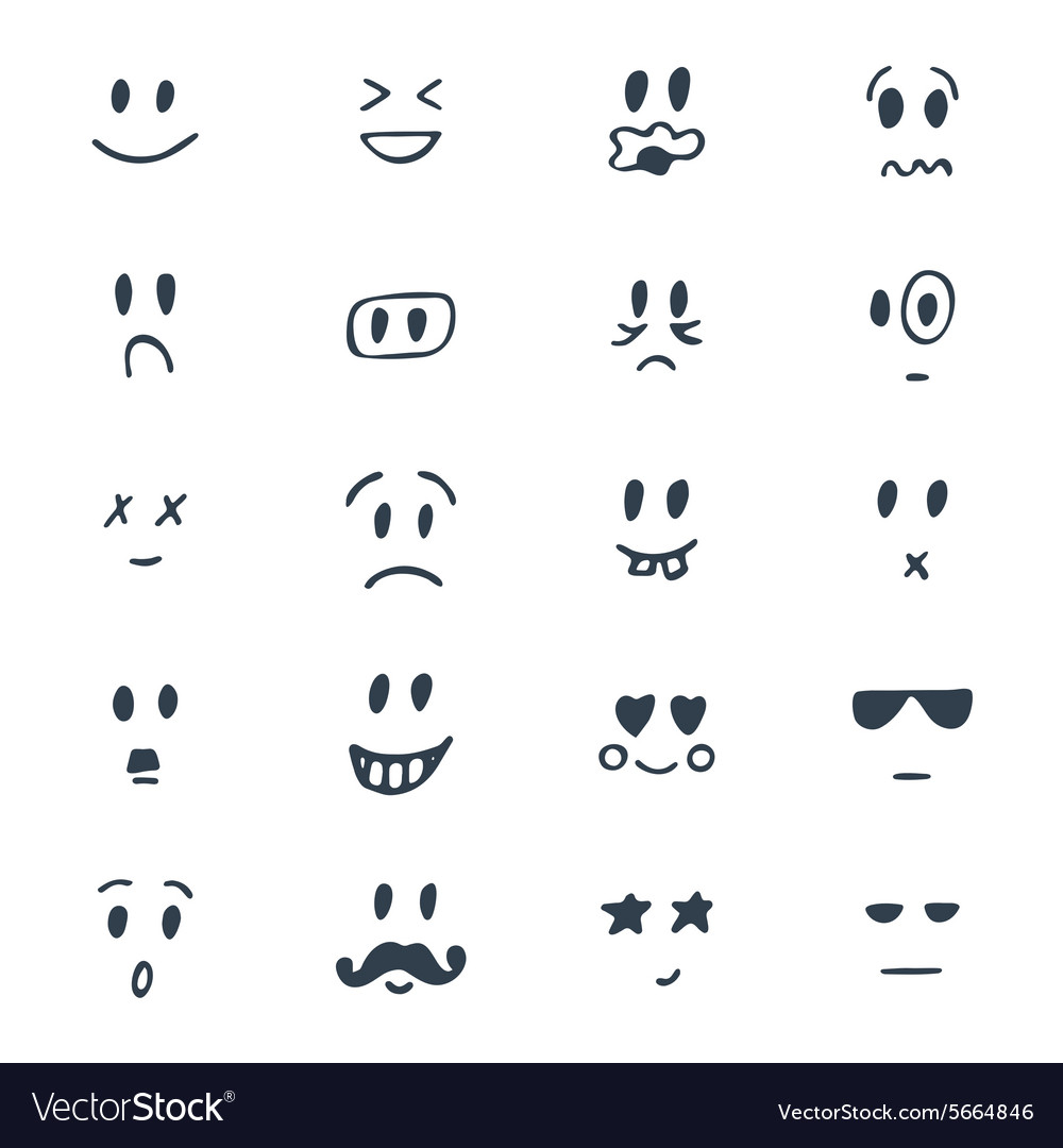 Set of hand drawn smiley faces Sketched facial