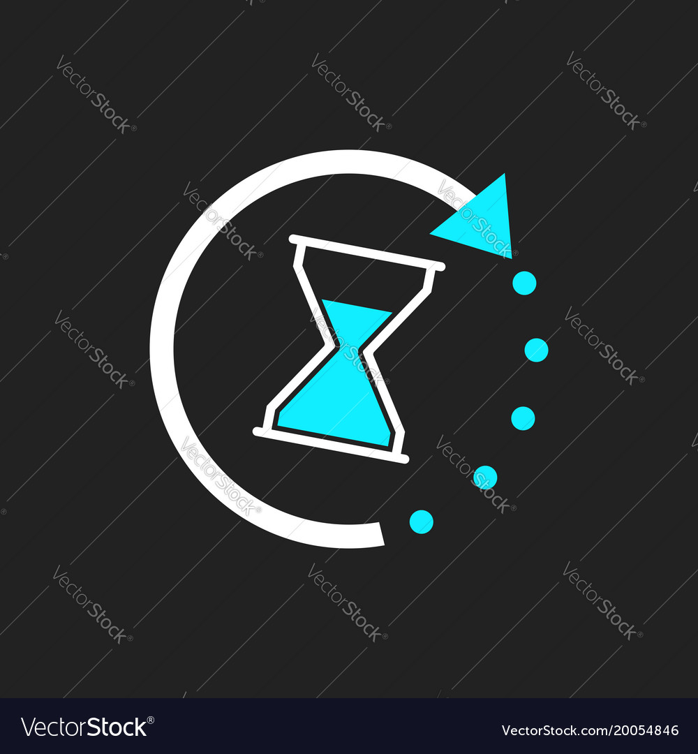 Time icon flat with hourglass on black background
