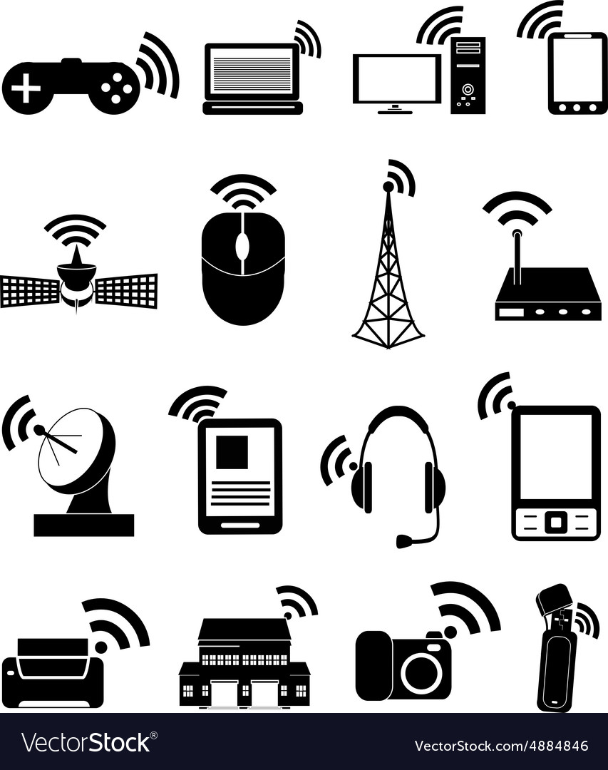 Wireless technology icons set