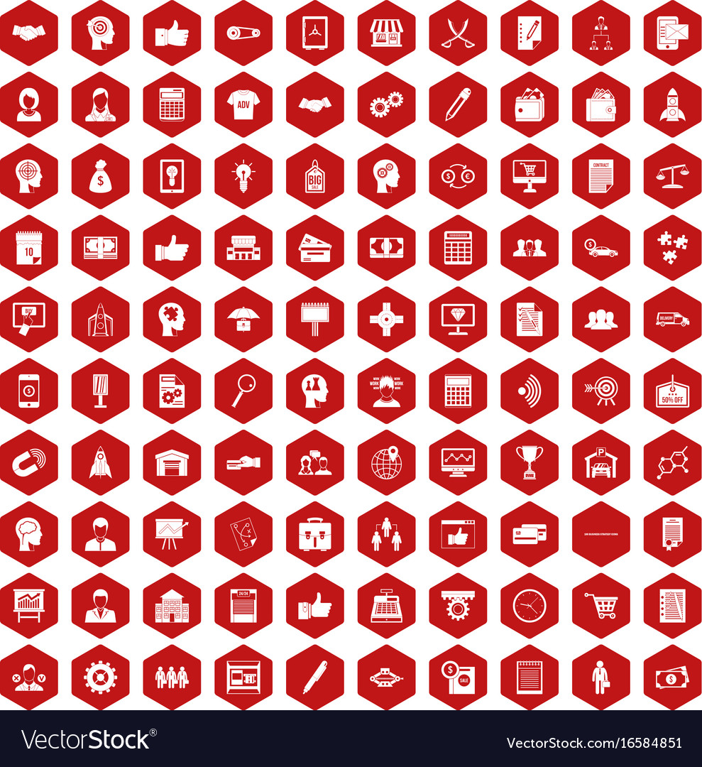100 business strategy icons hexagon red