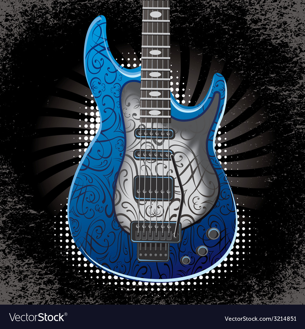 Banner With Acoustic Guitar On Black Background Vector Image