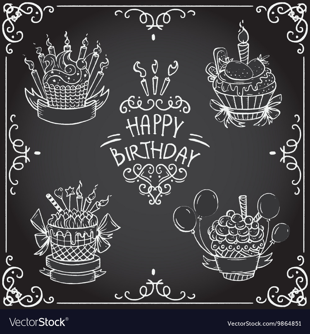Collection of vintage birthday cupcake vector image
