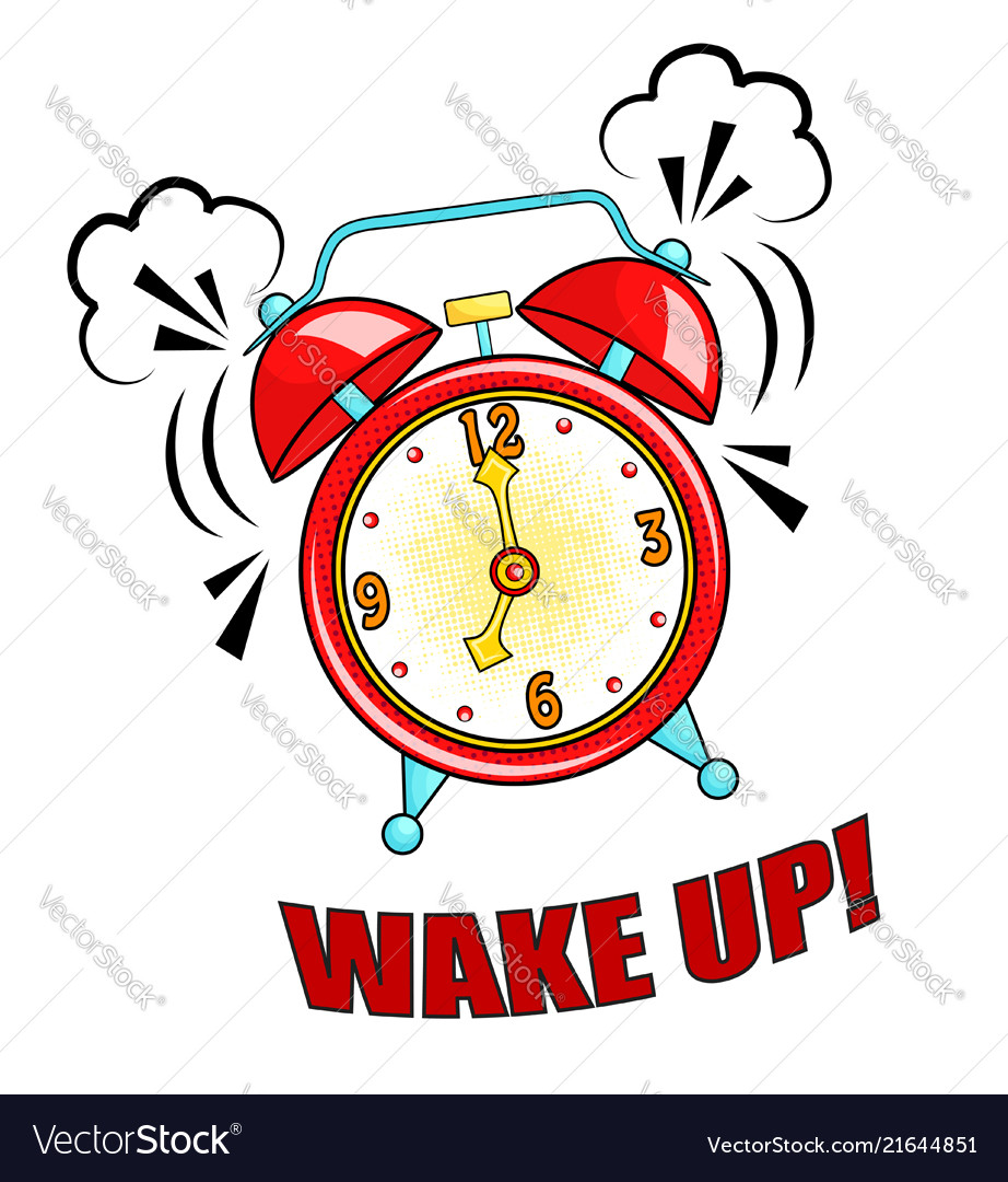 Comic alarm clock ringing and expression with Vector Image