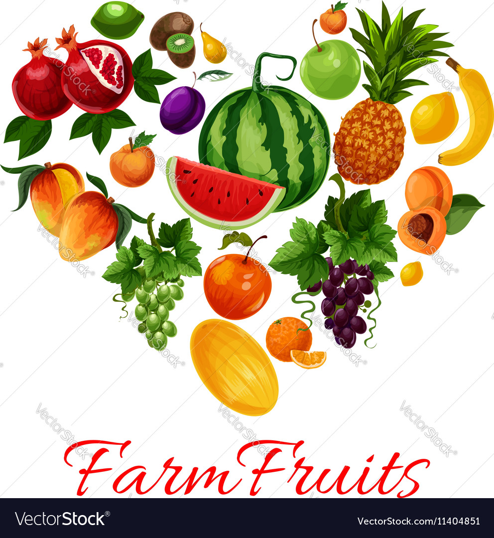 Farm fruits icons in heart shape